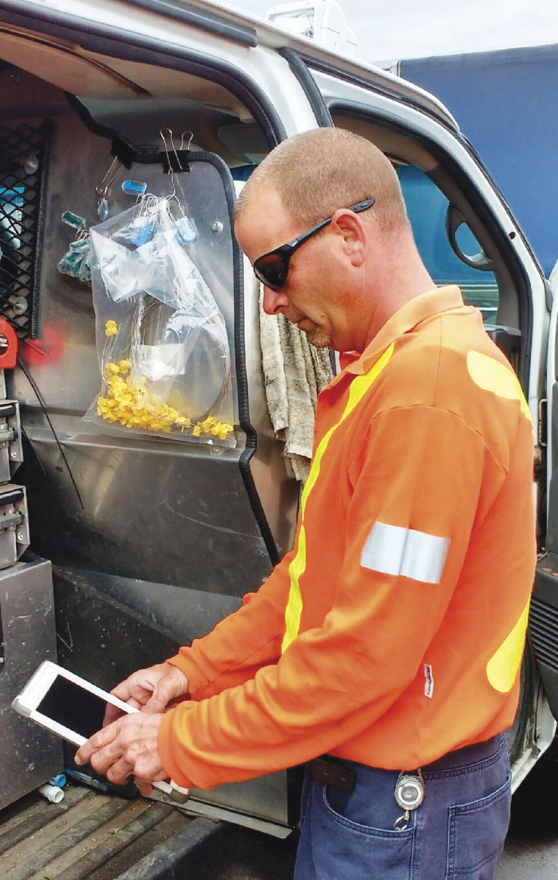 Working in teams of two, field crews access Workforce for ArcGIS on their tablets to see what they have to do each day and where they have to go.