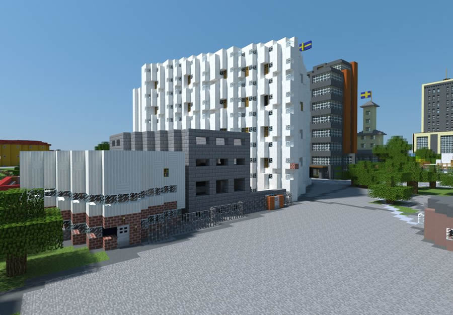 A virtual world of the Vilans Strandängar area in Kristianstad, Sweden, was created by integrating GIS with the Minecraft building game. 3D visualization by SWECO.