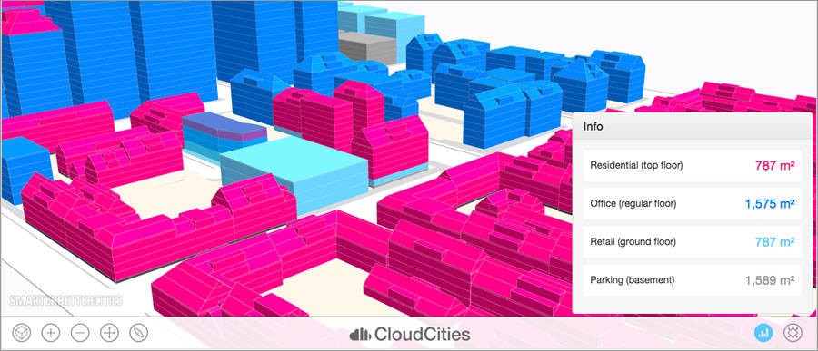 SmarterBetterCities uses 3D to help cities analyze and plan complex zoning scenarios.
