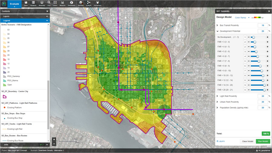 A suitability analysis for a hypothetical bus rapid (BRT) transit route takes into account proximity to parks and existing transit, as well as current and potential households and jobs.