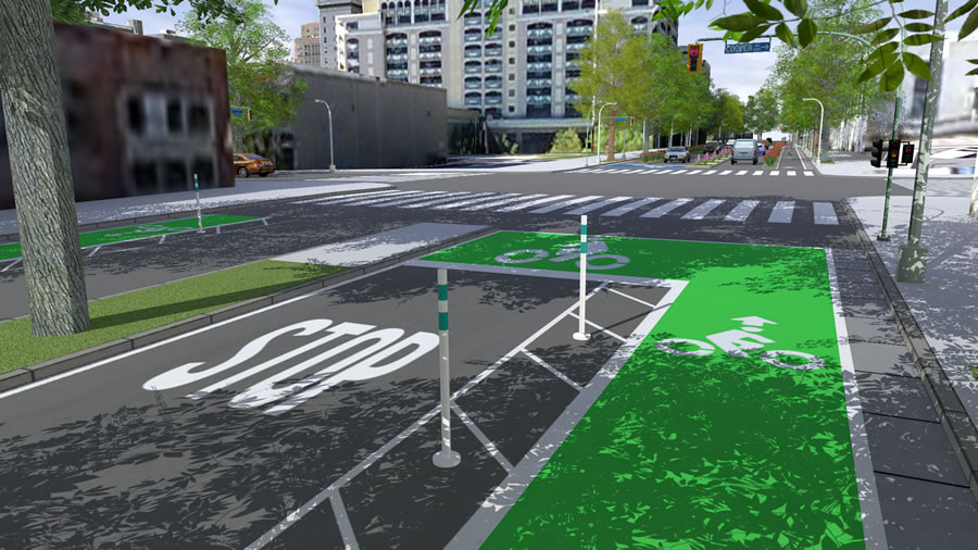 Different options for bike lanes, curbs, planters, markers, and trees, all in 3D, can be created using Esri CityEngine's Complete Streets.