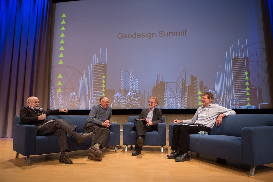 Carl Steinitz (far left), Jack Dangermond, Thomas Fisher. and keynote speaker Noel Cressie discuss the possibilities, probabilities, and promise of geodesign.