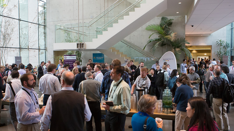 Attendees take a break to network and have refreshments at the Geodesign Summit.