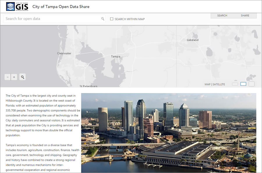 The City of Tampa Open Data site took only a few days to design and develop and has no custom coding.