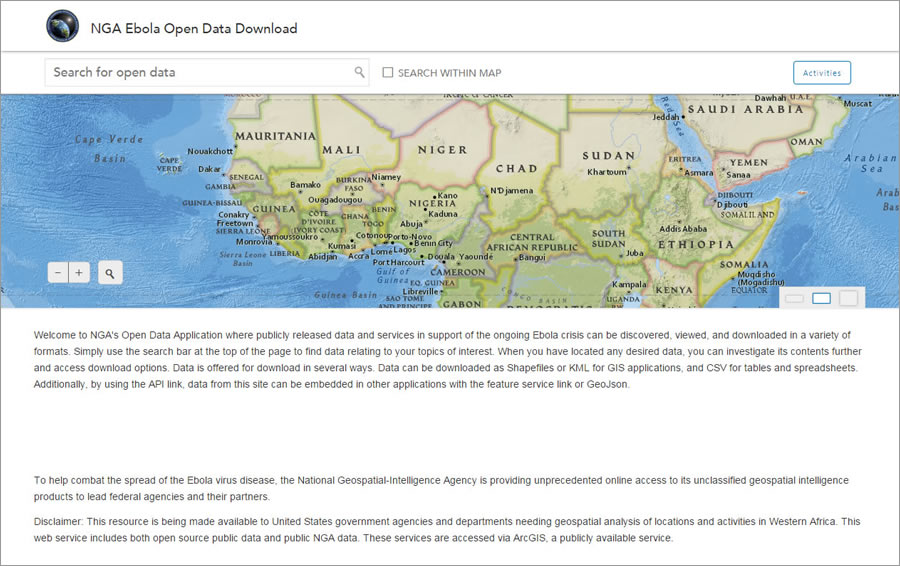 The National Geospatial-Intelligence Agency (NGA) uses ArcGIS Open Data to help combat the deadly Ebola virus.