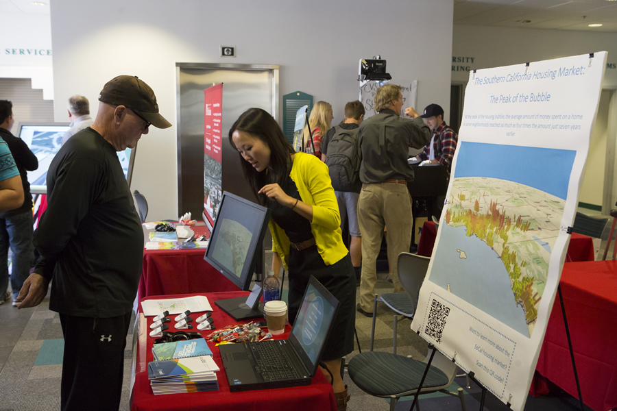 GIS analyses of issues such as the housing market bubble were showcased at a GIS Day event at the University of Redlands in California.
