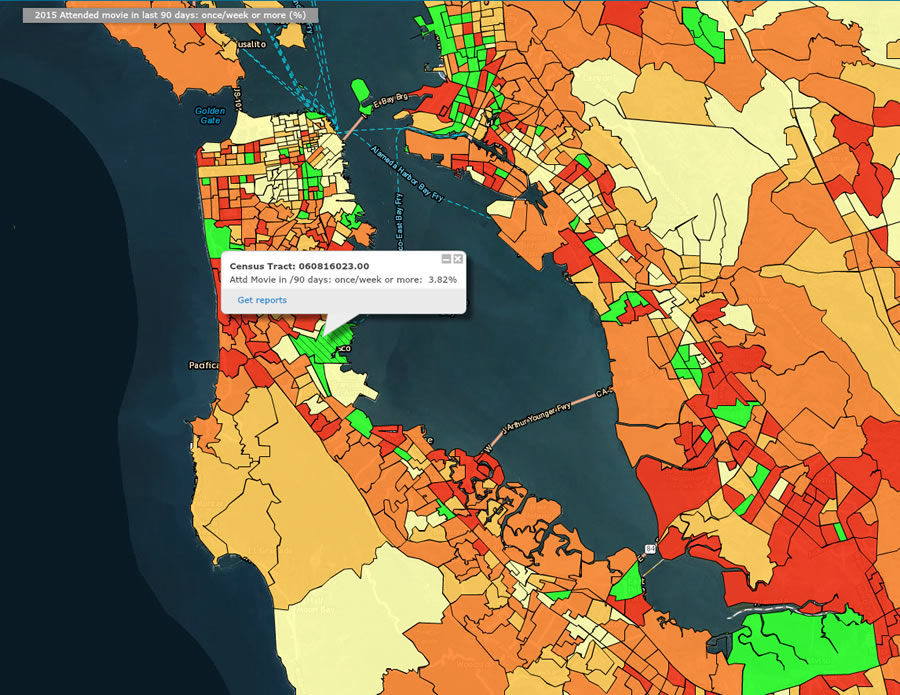 Esri data can reveal where the frequent movie-going population lives, down to the census tract.