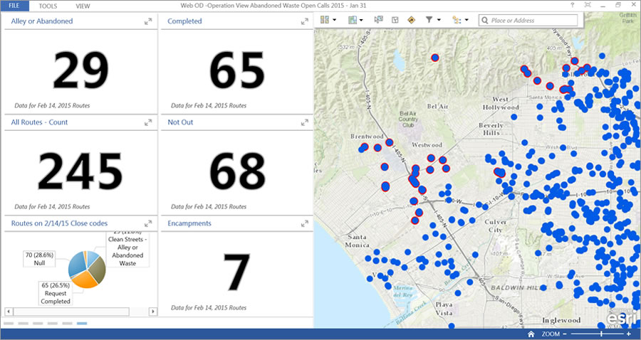 Operations Dashboard for ArcGIS shows the real-time status of calls by type-of-service resolutions.