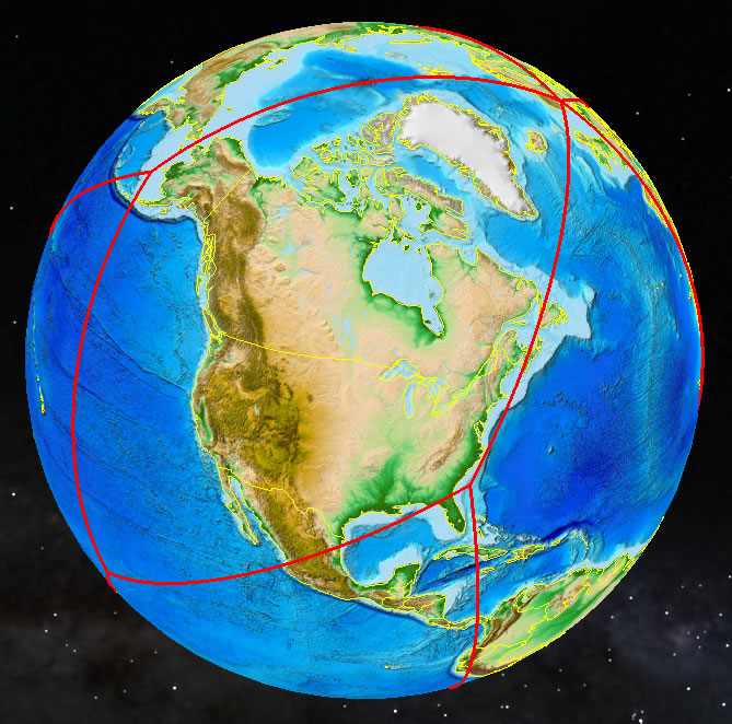 A global icosahedral view of North America. Credit: Tim Stough