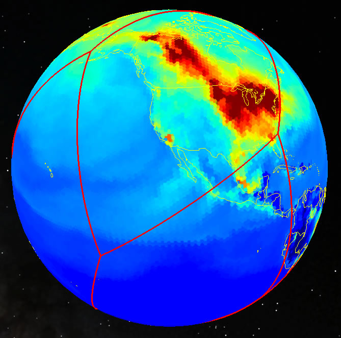 Estimated near-surface CO2 values projected onto a resolution-6 hexagonal equal area projection. Credit: Tim Stough