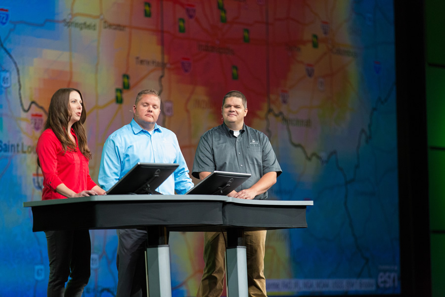 Brooke M. Gajownik (left), Craig Rogers, and Brad Fruth from Beck's Hybrids talked about how GIS helps farmers make better business decisions.