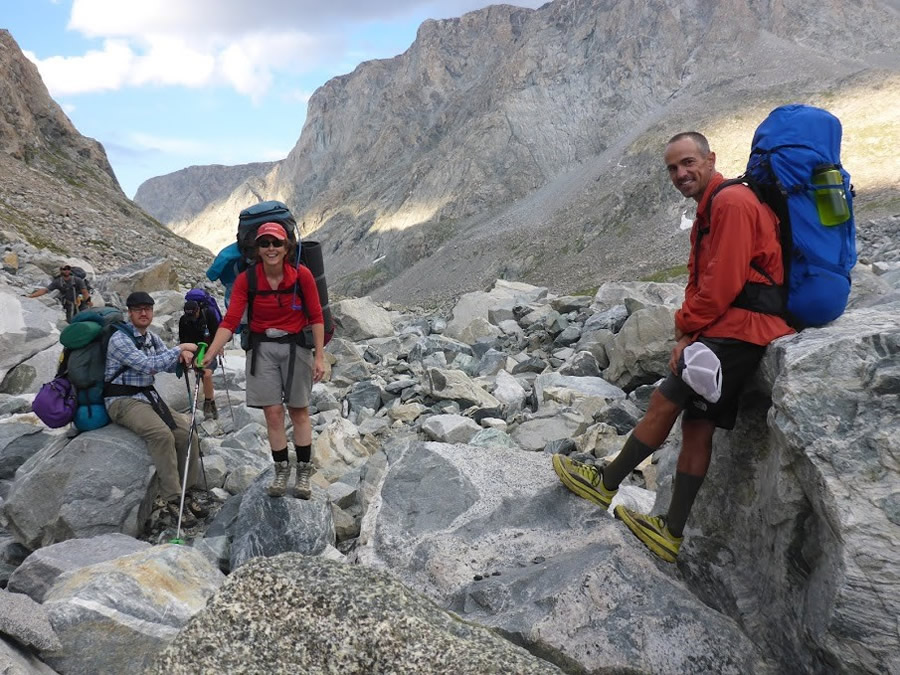 Jeremy Nielsen (left), a CWC film instructor, joins Jacki Klancher (center), assistant professor of Environmental Health at CWC, and Darran Wells (right), head of the CWC Outdoor Education program, on a glacier in Wyoming's Wind River Range.