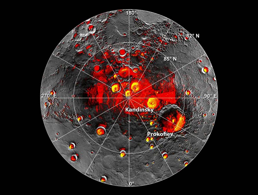 This map overlaid with radar data shows permanently shadowed regions and bright yellow (not true color) deposits in the northern polar region of Mercury. MESSENGER data have shown that the deposits are composed of water ice, sometimes beneath a layer of organic material. (Image Credit: NASA/Johns Hopkins University Applied Physics Laboratory/Carnegie Institution of Washington)
