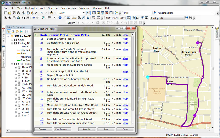 Using data from StreetMap Premium for ArcGIS, your organization can plan a route in Chennai, India.
