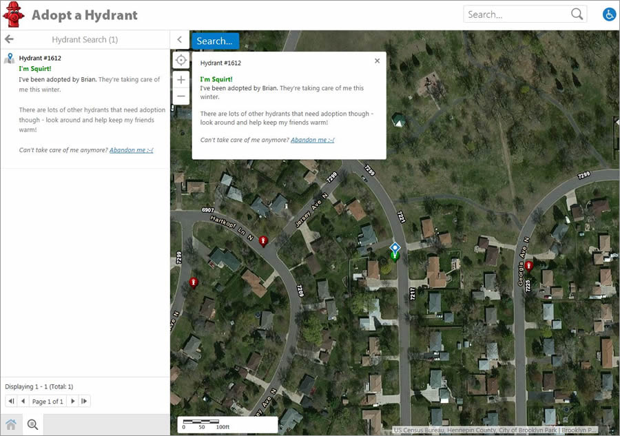 World Topographic Imagery provided by ArcGIS Online is used in the app.
