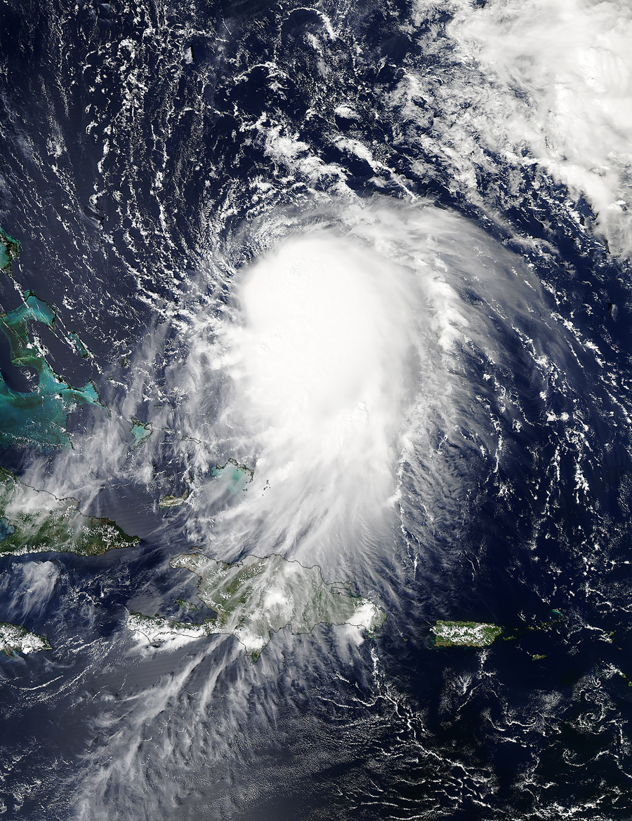 This image was taken September 29, 2015, the day before Tropical Storm Joaquin turned into a hurricane. Haiti and the Dominican Republic are at the bottom of the image. Image courtesy of NASA Earth Observatory.