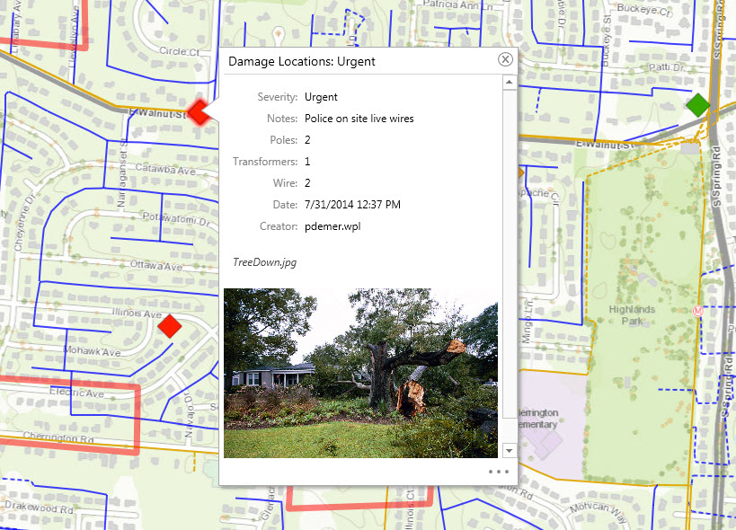 ArcGIS can be used to inspect damage to utility assets such as power poles. Field crews use Collector for ArcGIS to collect photos and other information about storm damage right where it happens.