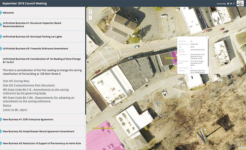 A story map-based city council agenda