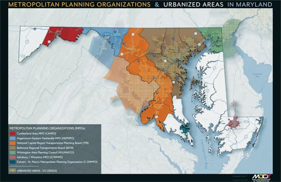 MPOs and urbanized areas in and around Maryland