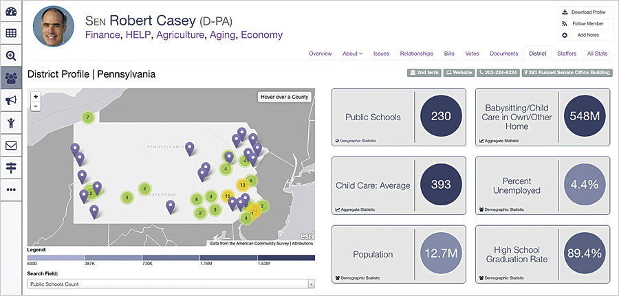 Quorum makes it possible to visualize a policy's effects on various districts by layering in demographic statistics from Esri.