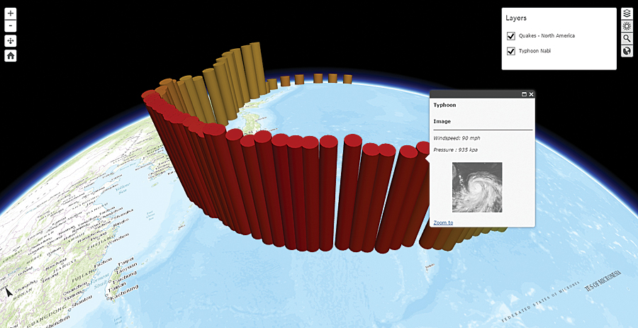 The 3D scene viewer allows you to easily interact with a scene published by ArcGIS Pro or create 3D scenes using your own layers, either hosted in ArcGIS Online or on ArcGIS for Server, such as terrain and elevation layers.
