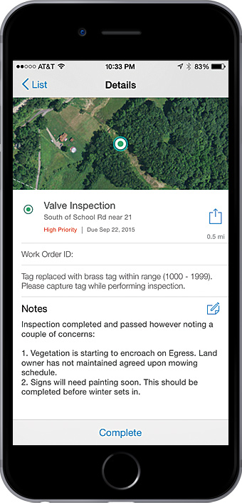 Field crews can use Workforce for ArcGIS to get work assignments and communicate status updates back to the office.