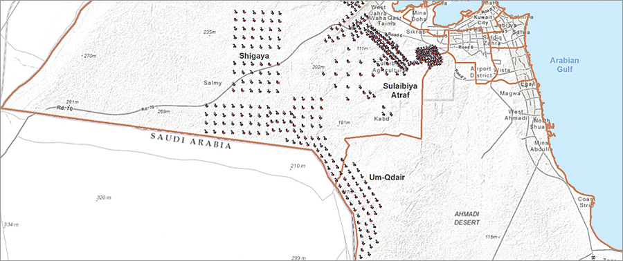 Distribution of groundwater fields and wells. Source: MEW Enterprise GIS System