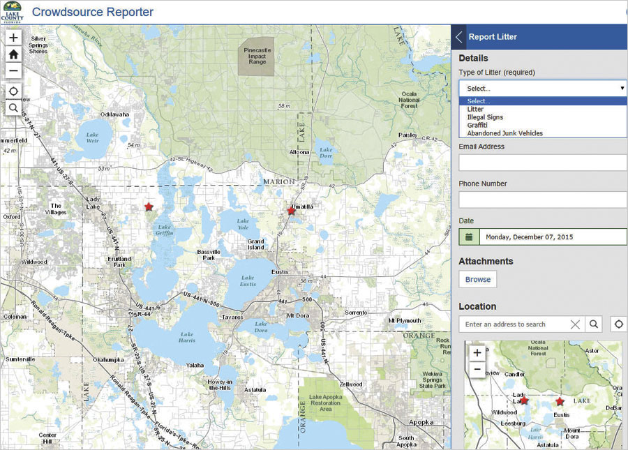 Using Crowdsource Reporter, citizens can identify areas with litter, illegal signs, graffiti, and abandoned vehicles.