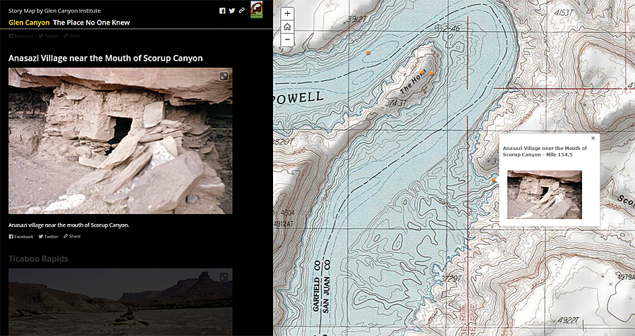The Glen Canyon Institute used the Esri Story Map Journal application to create its story map, The Place No One Knew.