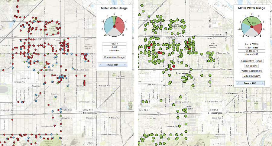 Once the Fontana Public Works Department mapped out its sprinkler data, it could see which sprinklers were overwatering (red) and which ones were within budget (green). These two images show sprinkler data from before the mapping project began (left) and after it was completed (right).