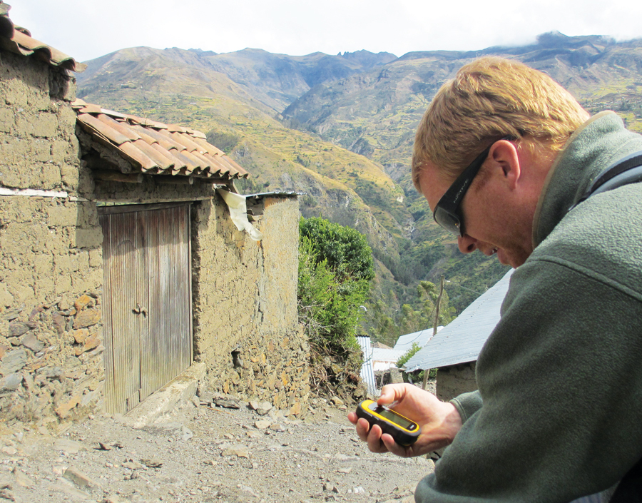 2013 summer program volunteer Kevin Zavoral collects data in Choquecancha in Peru's Lares district. Volunteers typically cover more than 3.7 miles (6 kilometers) per day at very high altitudes.