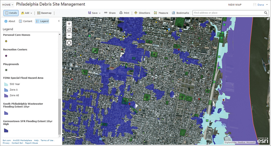 Philadelphia Debris Site Management ArcGIS Online website was used to perform the desktop reviews and track field progress.