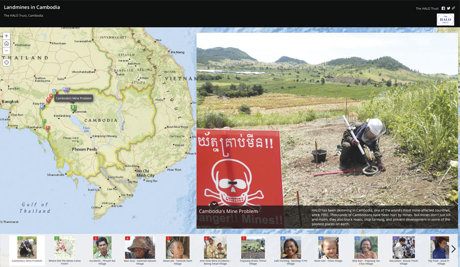 Clicking on the thumbnails at the bottom of the Story Map Tour takes viewers to more specific points on the map and enlarges individual stories about how land mines have affected villagers.