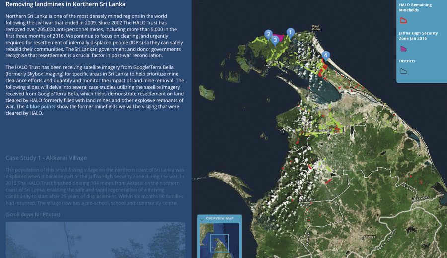 Following HALO's removal of 205,000 mines in northern Sri Lanka, the organization used Story Map Journal to show how this has rapidly reinvigorated the region.