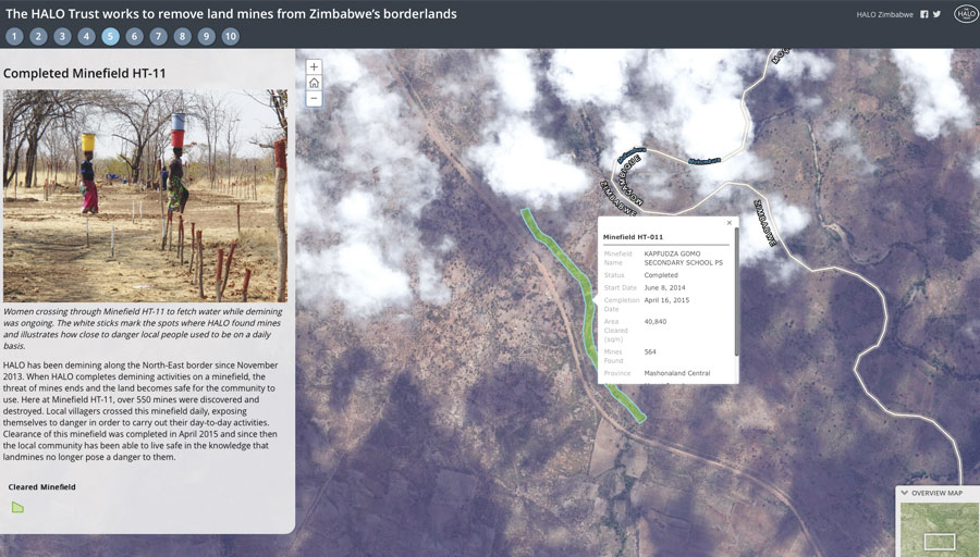 HALO used the bulleted layout of Story Map Series to give viewers an idea of how close to minefields some local Zimbabwean populations live and work.