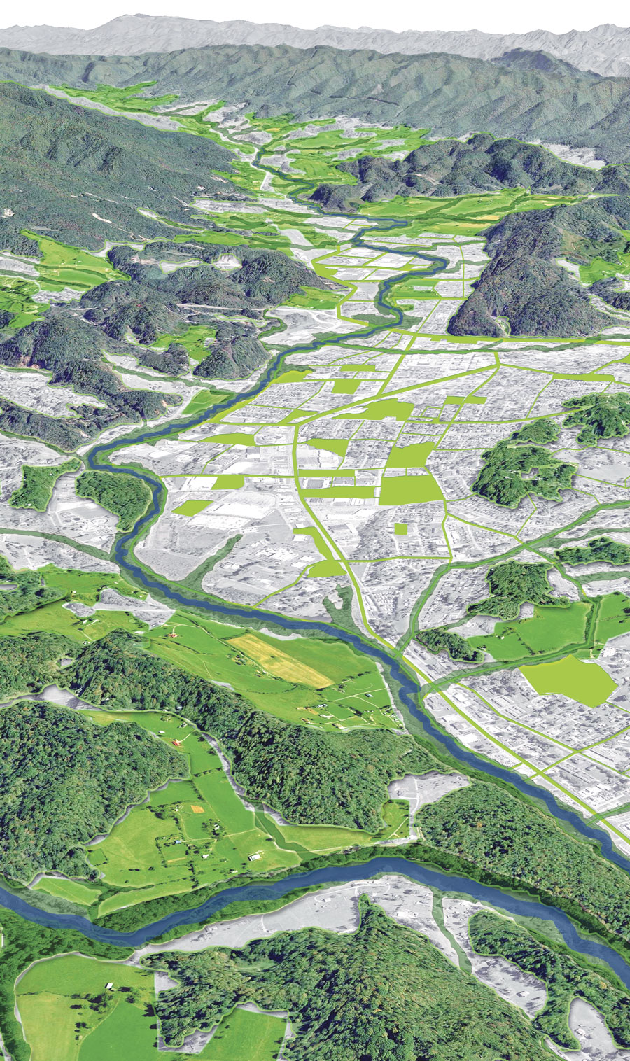 Green infrastructure is a strategically planned and managed network of open spaces, watersheds, wildlife habitats, parks, and other areas. (Image courtesy of Zach Hill, Ecosystem Sciences, LLC.)