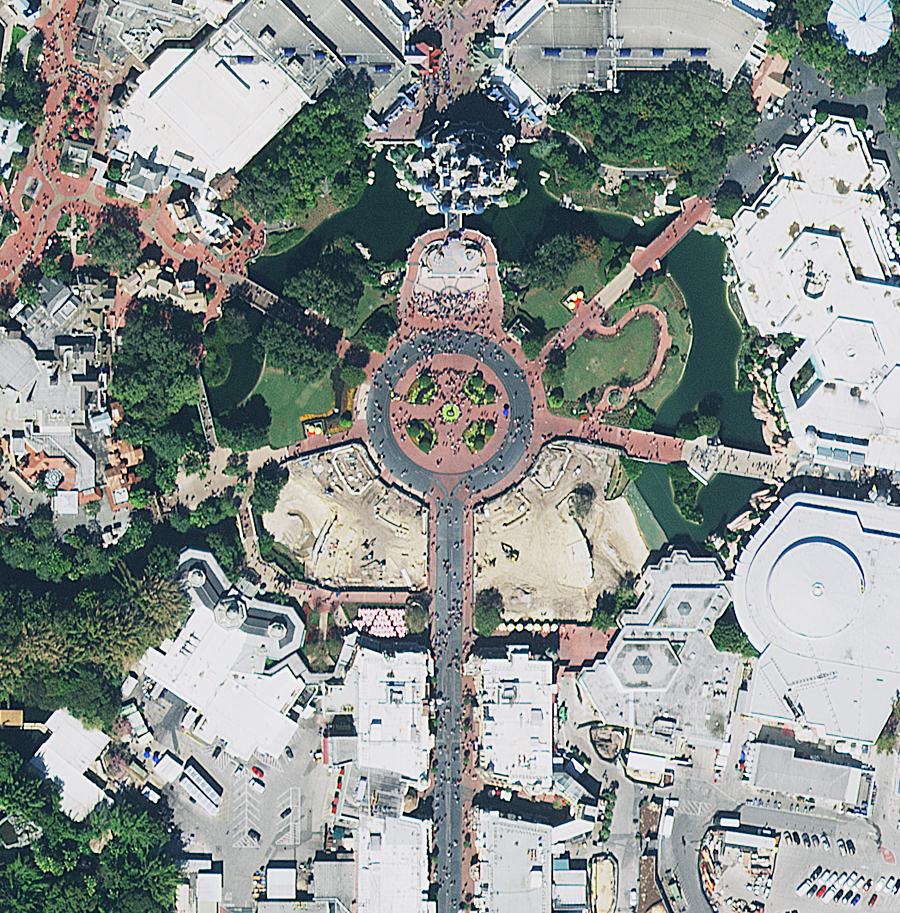 This imagery showing Disney World in Florida illustrates the detail provided by ready-to-use image services from the Hexagon Imagery Program, now available to Esri users through the ArcGIS Marketplace.