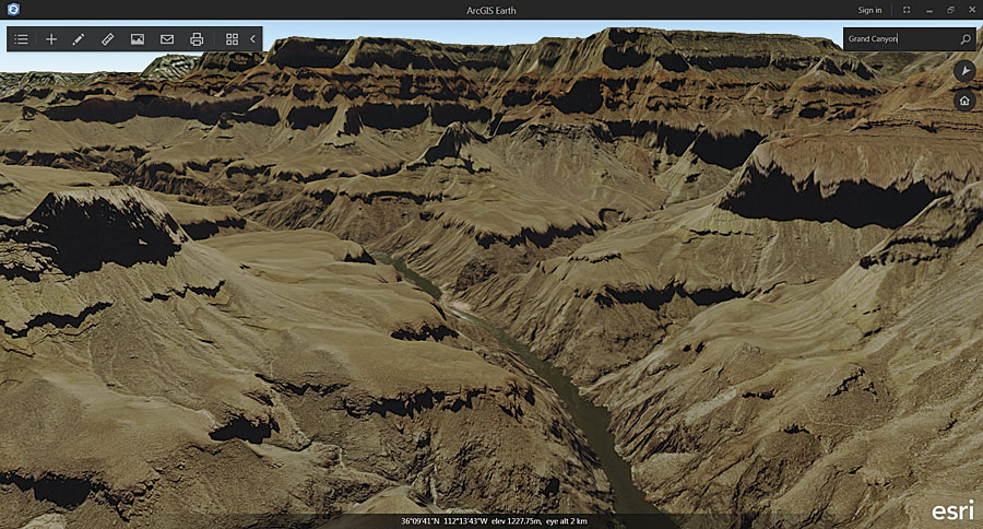 3D terrain views, like this one of the Grand Canyon, are available by default in ArcGIS Earth.