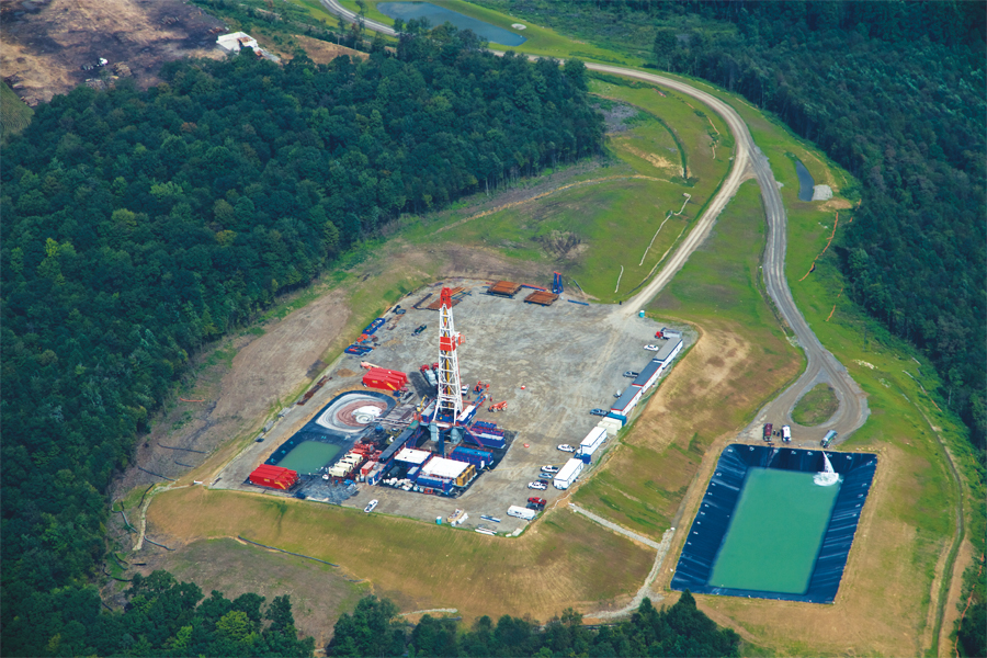 A Marcellus shale well being drilled in Westmoreland County, Pennsylvania. Photo courtesy of Josh Wenzel