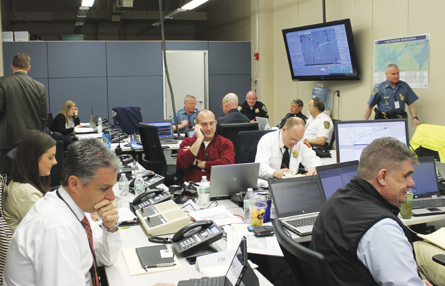 The bomb squad used the maps displayed in the Tactical Operations Room to identify the locations of suspicious or unattended packages. Photo courtesy of the Massachusetts Emergency Management Agency.