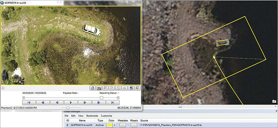 Users can trace objects in a video, such as this SUV, so they appear as polygons in ArcGIS for Desktop (as on the right). Using the yellow field of view bounding box, users gain a better understanding of the geographic scale of their videos.