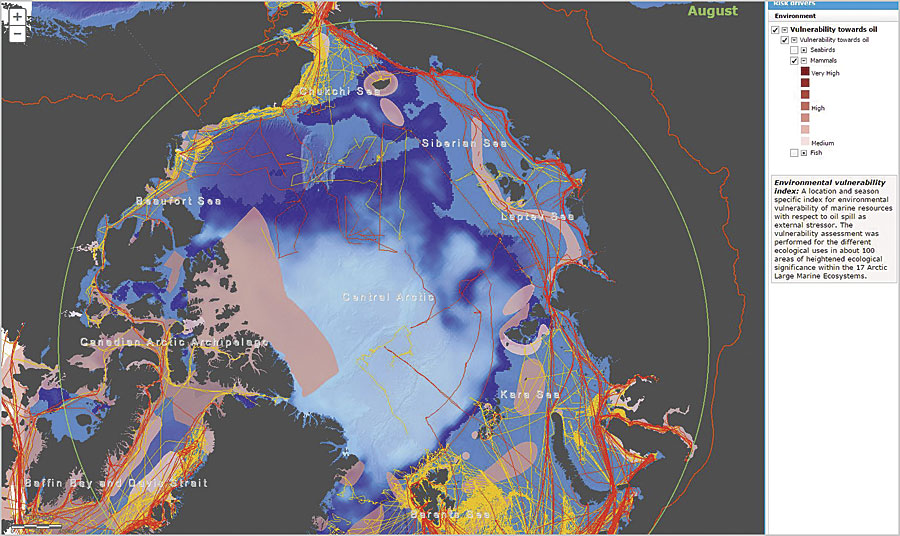 The map displays environmentally vulnerable resources, such as marine mammals, alongside ice coverage and Arctic shipping (the red lines represent ships carrying heavy fuel oil). This data is from August 2012.