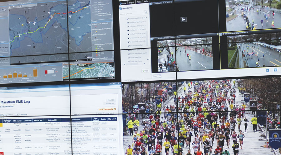 The dashboard featured dynamic web map layers, including live weather and traffic and real-time tracking of runners and emergency vehicles. Photo courtesy of the Massachusetts Emergency Management Agency.