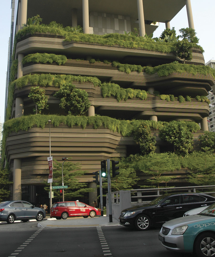 Singapore's quest to be known as the City in a Garden is boosted by hotels planting rooftop gardens, like these sky gardens on top of the Parkroyal on Pickering Hotel.