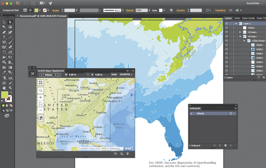 In Adobe Photoshop and Illustrator, users can download maps as editable vector layers or high-resolution images.