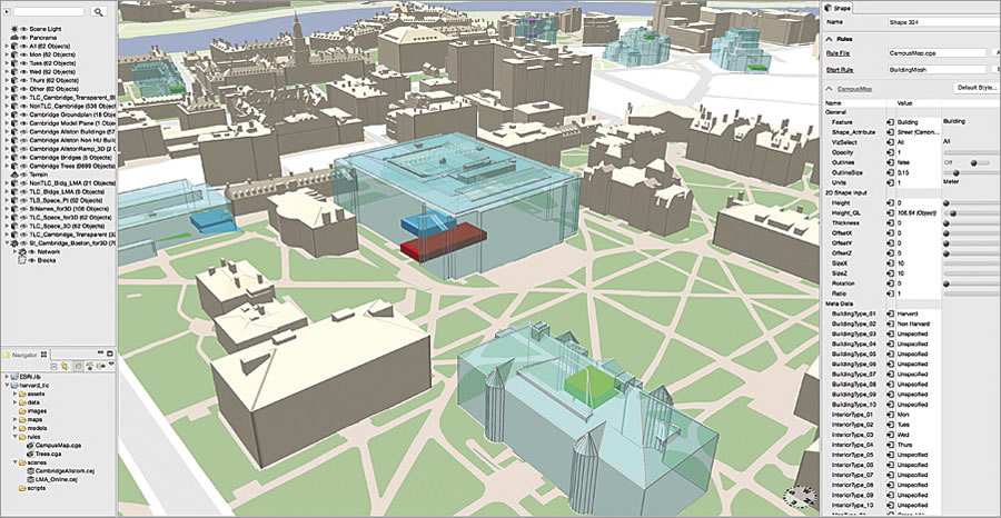 After 3D models from CAD or photogrammetry are prepared, the data is imported and formatted using Esri CityEngine.