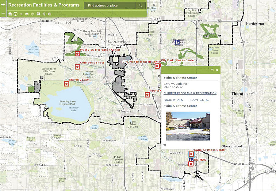 This web map, created using Esri's Web AppBuilder for ArcGIS, shows recreation facilities within the City of Westminster, with pop-up hyperlinks to program and activity lists.