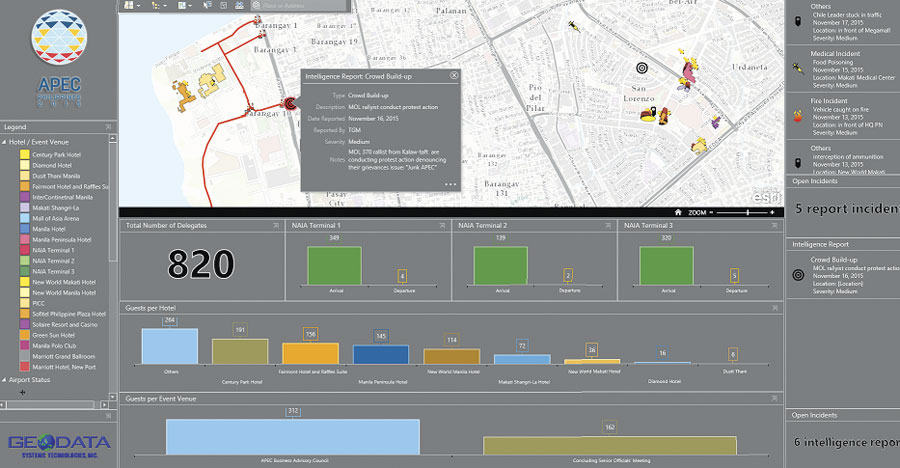 A multiagency coordination center used Operations Dashboard for ArcGIS to monitor criminal incidents, traffic conditions, and protests in and around the areas where APEC delegates were meeting.