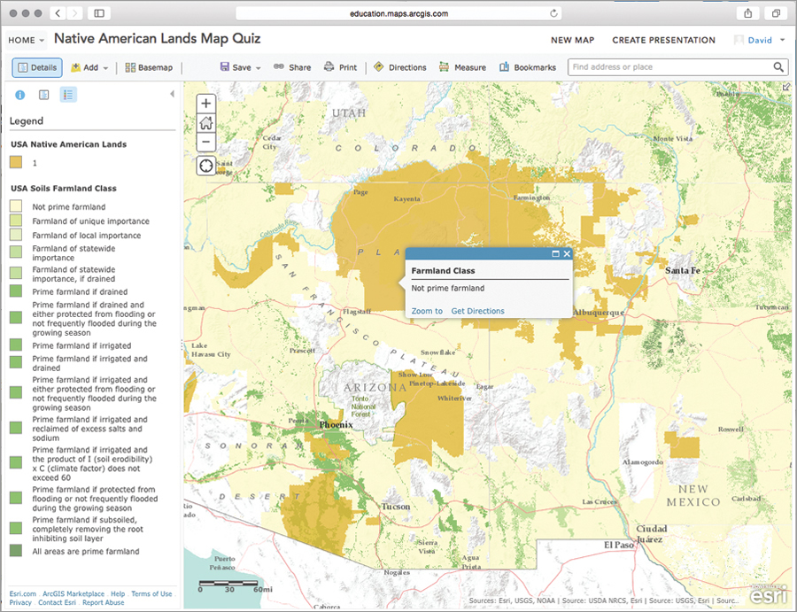 An example of a web map that expands the usability of a map illustration that appears in a leading US history textbook. The web map enables students to explore, interpret, and explain the environmental and economic conditions within Native American lands.