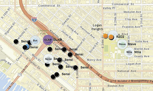 Journalism and geology students at San Diego State University used sensors (which they all named something different, from R2D2 and Sensi to Steve) to collect data on air pollution in various San Diego neighborhoods. They then used ArcGIS Online to map the results.